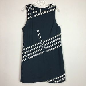 Maeve Anthropologie navy and white a-line dress L